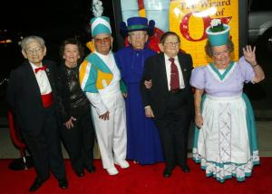 "BEVERLY HILLS , CA - OCTOBER 19: Original munchkins from ""The Wizard of Oz,"" (L-R) Mickey Carroll, Myrna Swenson, Clarence Swenson, Meinhardt Raabe, Karl Slover and Margaret Pellegrini, arrive for a gala screening marking the movie classic's 50th anniversary at the Academy of Motion Picture Arts and Sciences Samuel Goldwyn Theatre October 19, 2005 in Beverly Hills, California.  (Photo by Matthew Simmons/Getty Images)"