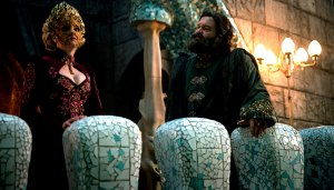 """EMERALD CITY -- """"Everybody Lies"""" Episode 105 -- Pictured: (l-r) Stefanie Martini as Lady Ev, Vincent D'onofrio as Wizard -- (Photo by: David Lukacs/NBC)"""